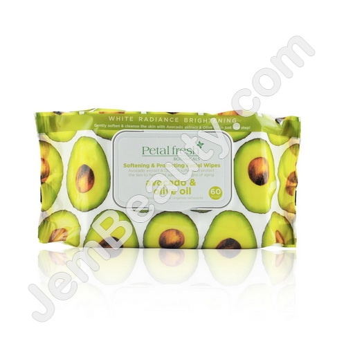 Petal Fresh, Softening & Protecting Facial Wipes, Avocado & Olive Oil, 60 Wipes(pack of 1) Aramox Fashion Face Cleansing Brush Exfoliating Grease Removal Massage Jellyfish Octopus Wash Tool,Face Brush, Silicone Cleansing Brush