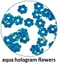 Art Club Hologram Flowers Aqua